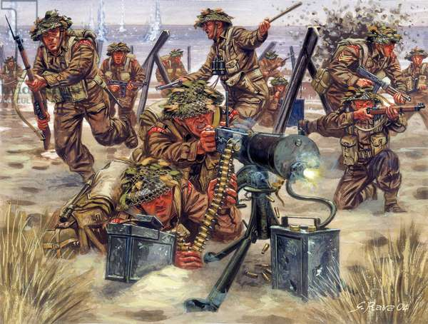 Second World War: Debarking in Normandy in June 1944, English soldiers - WWII: Normandy landings, the british troops, 6 June 1944 - Illustration by Giuseppe Rava