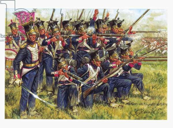 First empire, German campaign: Polish line infantry at the Battle of Leipzig in October 1813 - First empire, German campaign: polish line infantry during battle of Leipzig (Battle of the Nations), October 1813 - Illustration by Giuseppe Rava