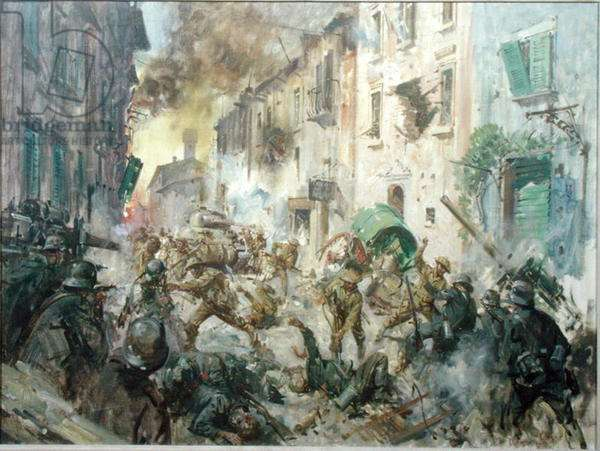 The 2nd Battalion 6th Gurkha Rifles and 14th/20th King's Hussars fighting for the town of Medicina, Italy, 16 April 1945, 1964 (oil on canvas)