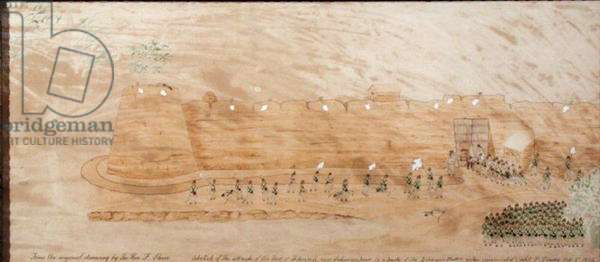 Sketch of the attack on Koonja, 3rd October 1824 (w/c on paper)