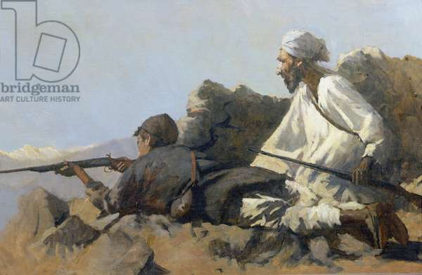 Two Afghani Snipers (oil on canvas)