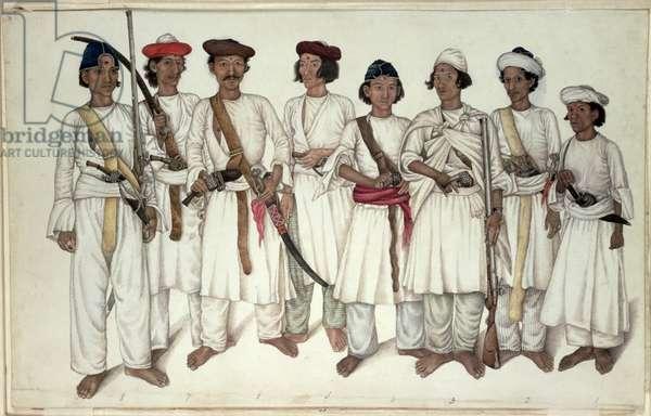 Eight Gurkhas, 1815 (pencil & w/c on paper)