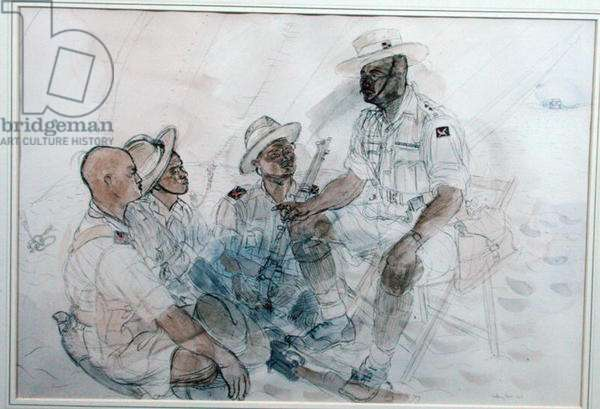 Subedar Lalbahadur Thapa VC 2nd Gurkha Rifles in North Africa (pen & w/c on paper)