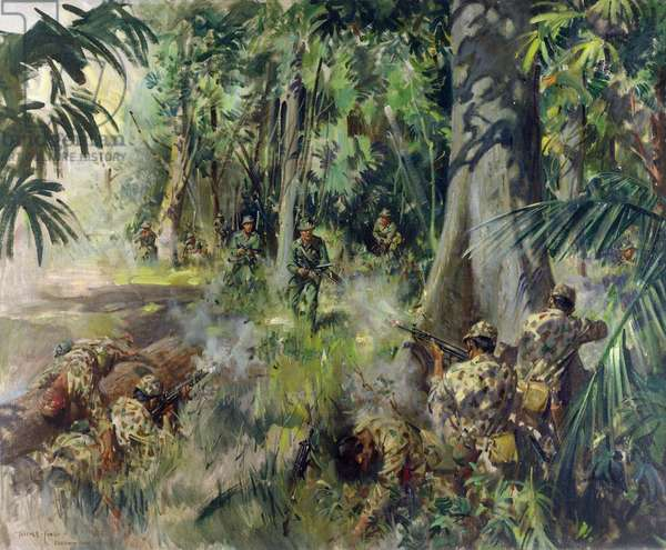 'B' Company 1st Battalion Action against Indonesian Parachutists at Labis, 23rd September 1964, 1966 (oil on canvas)
