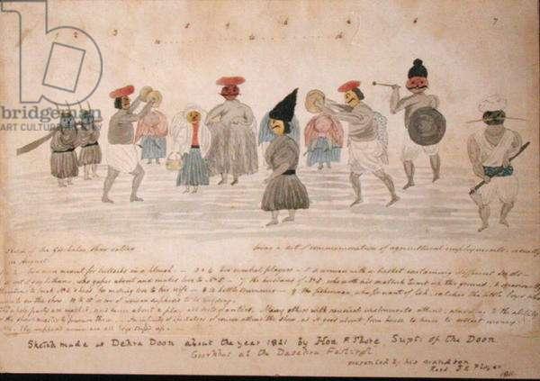 Sketch of Gurkha life at Dehra Dun, c.1821 (w/c on paper)