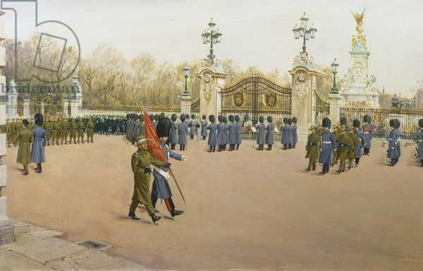 Changing the Guard at Buckingham Palace, 1972 (oil on canvas)