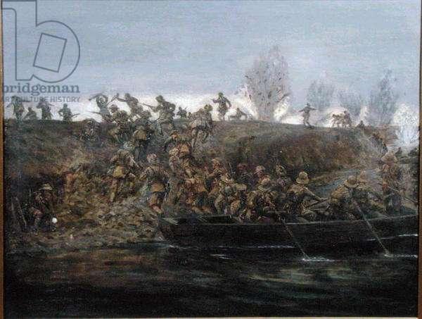 Crossing the Tigris, Mesopotamia, 23 February 1917, c.1960 (oil on canvas)