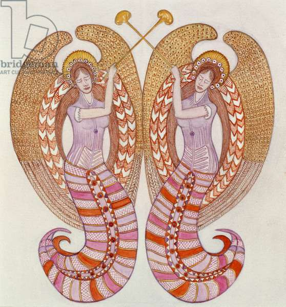 Two angels with trumpets, 1995 (w/c)
