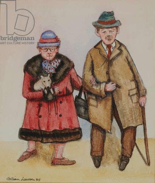 Elderly Couple, 1985 (watercolour on paper)