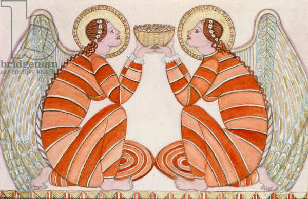 Two angels holding a bowl, 1995 (w/c)