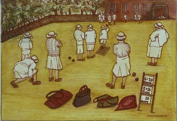 Bowling, 1988 (watercolour on paper)