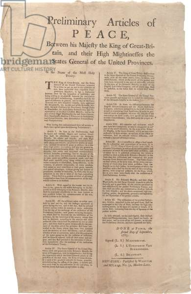 Preliminary articles of peace between...Great Britain and...the United Provinces, 02 September 1783 (litho)