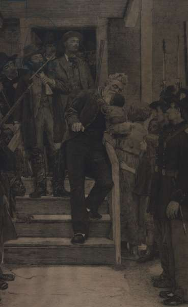The last moments of John Brown, 1885 (etching on vellum)