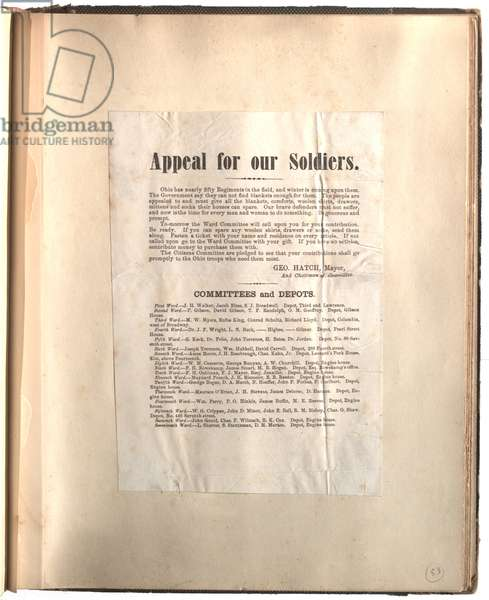 Appeal for our soldiers, Ohio [in scrapbook], c.1861-1865 (litho)