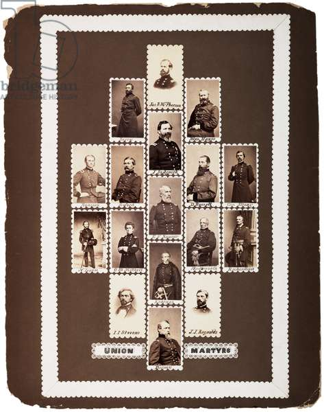 Union Martyrs, photographs of Union generals killed during the war (maquette), c.1864 (sepia photo)