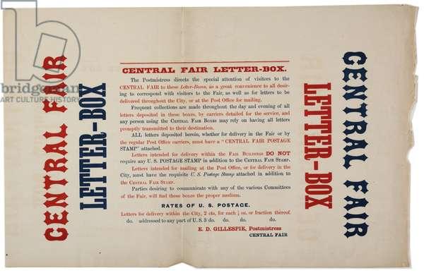 Announcement for the Central Fair Letter Boxes, c.1864 (colour litho)