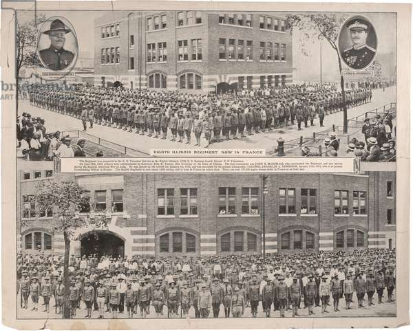 Eighth Illinois Regiment, Now in France, half tone printed reproduction, c.1918 (b/w photo)