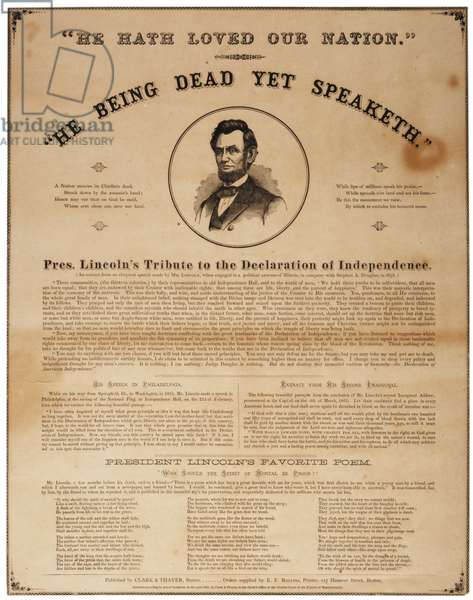 He Being Dead Yet Speaketh, 1865 (litho)