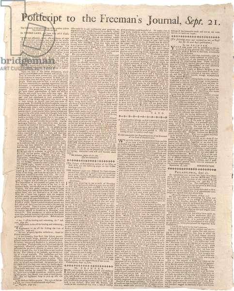 Postscript to the Freeman's Journal, 21st September 1781 (litho)