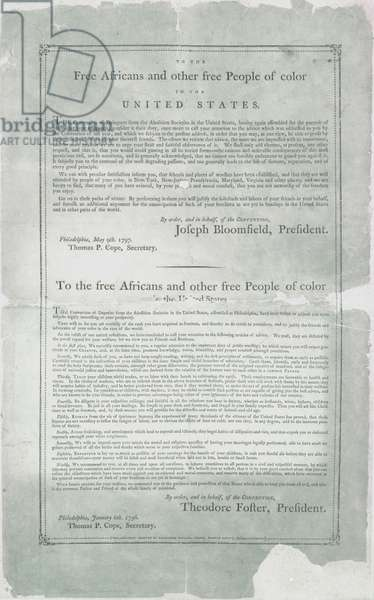 To the free Africans and other people of colour in the United States, 6 January 1796-9 May 1797 (litho)