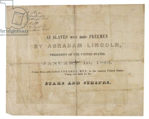 Broadside recruiting African Americans for military service, 1863 (litho) (see GLC 695982 for reverse)