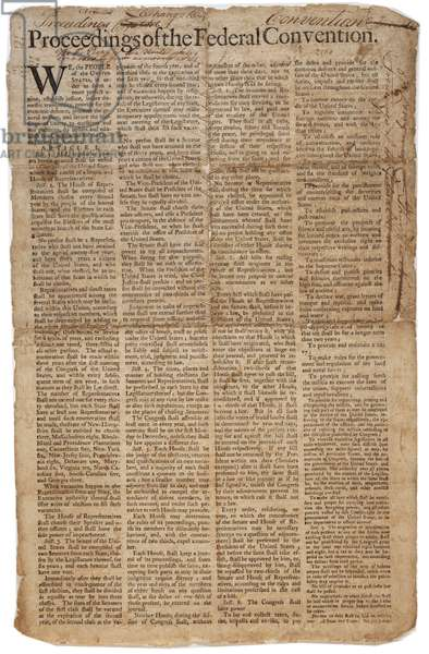 U.S. Constitution, c.10th September 1787 (litho) (see also GLC 696084)