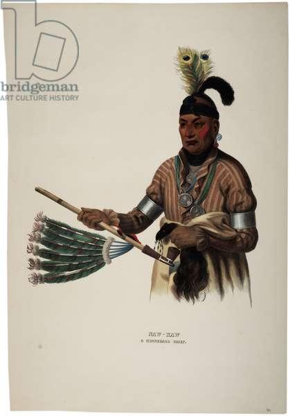 Naw-kaw, Winnebago Chief, print made by Thomas Loraine McKenney, c.1840 (colour litho)