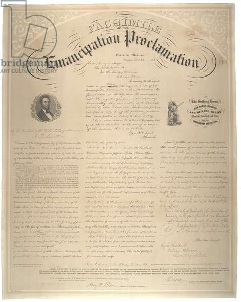 Facsimile of the Emancipation Proclamation, printed by Edward Mendel, Chicago, 1863 (litho)