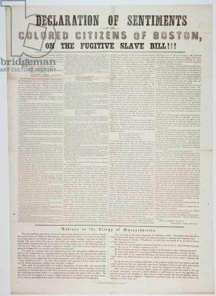 Declaration of sentiments of the coloured citizens of Boston, on the fugitive slave bill!!!, c.5 October 1850 (litho)