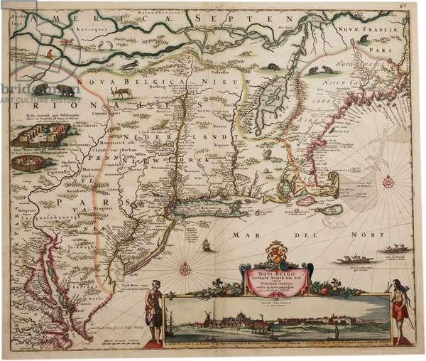 Novi Belgi Novaeque Angliae [New Netherland and New England], 1682 (hand-coloured engraving)