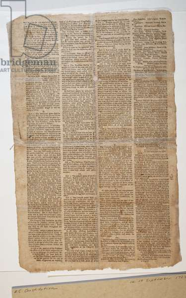 U.S. Constitution, c.10th September 1787 (litho) (see also GLC 696083)