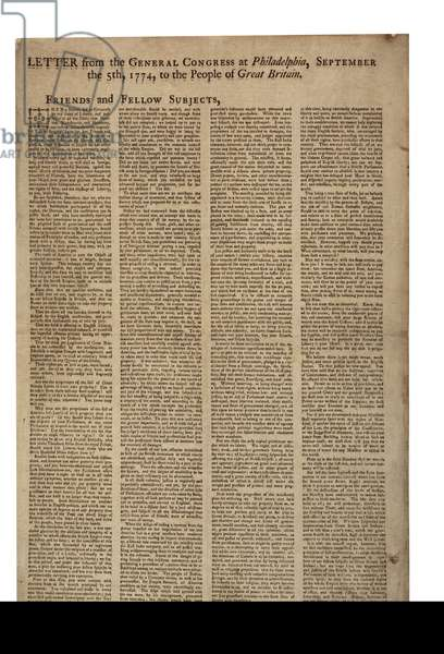 Letter from the General Congress at Philadelphia (describes American grievances), 5th September 1774 (litho)
