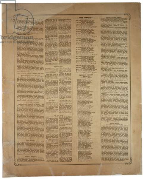 Broadside regarding recruitment of African Americans and celebrating emancipation in Maryland,Ringwalt & Brown (fl.1863-1865), c.1 November 1864 (colour litho) (see also GLC 696092 & 696093)