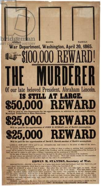 Lincoln assassination reward poster, 20th April 1865 (litho)