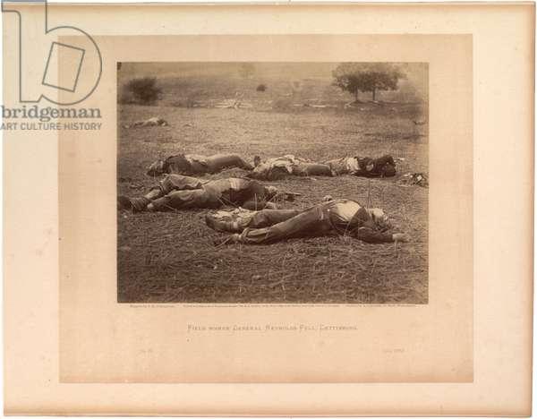 Field where Gen. Reynolds fell, Gettysburg, published by Gardner, July 1863 (sepia photo)