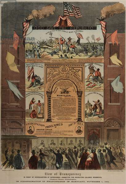 Broadside regarding recruitment of African Americans and celebrating emancipation in Maryland,Ringwalt & Brown (fl.1863-1865), c.1 November 1864 (colour litho) (see also GLC 696014, 696016 & 696017)