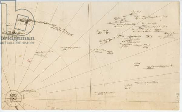 Battle plan for the siege of Boston Harbour, c.1775-1776 (litho)