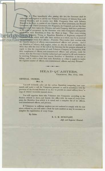 Call for volunteers under General Order No.4, 27th December 1860 (litho)
