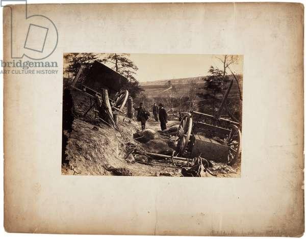 Albumen print: Effect of explosion of shell, near Fredericksburg, Va., c.1862 (sepia photo)