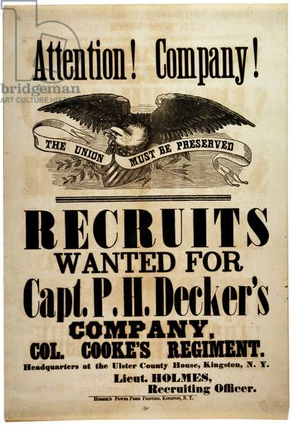 Attention! Company!, recruiting broadside for New York 156th Infantry, 1862 (litho)