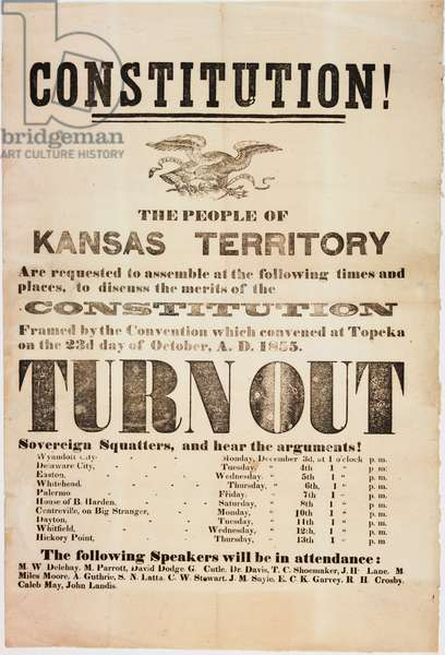 Constitution! The people of the Kansas Territory are requested to assemble..., printed by E. C. K. Garvey & Co., c.23rd October 1855 (litho)