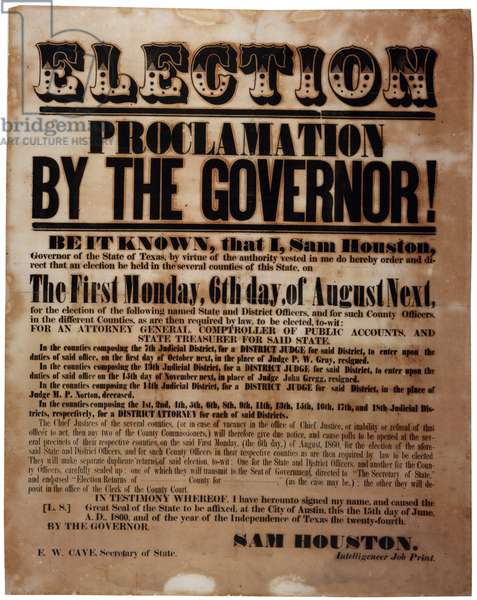 Election Proclamation by the Governor! (elections before the Civil War), 15th June 1860 (litho)