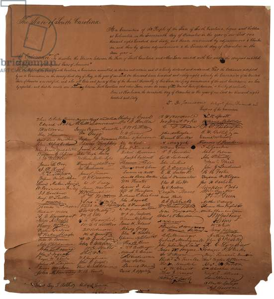 An ordinance to dissolve the Union between the State of South Carolina, 20th December 1860, printed 1861 (litho)
