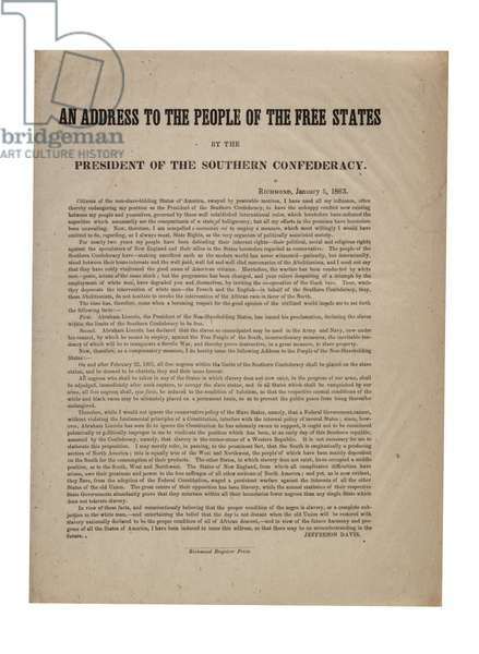 An Address to the People of the Free States by the President of the Southern Confederacy, 5th January 1863 (litho)