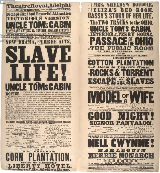Broadside advertising the play 'Slave life! or, Uncle Tom's cabin' in Adelphi, 1852 (litho)