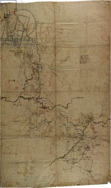 Manuscript Civil War map of General Sherman's Atlanta campaign, c.1864 (litho)