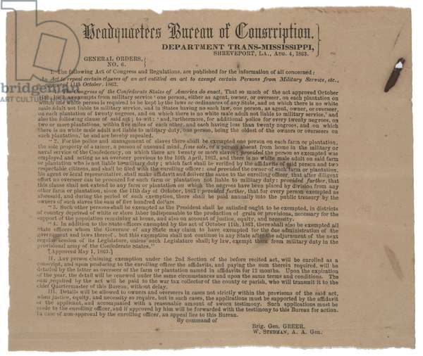 General order no.6 exempting certain persons from military service, 4 August 1863 (litho)