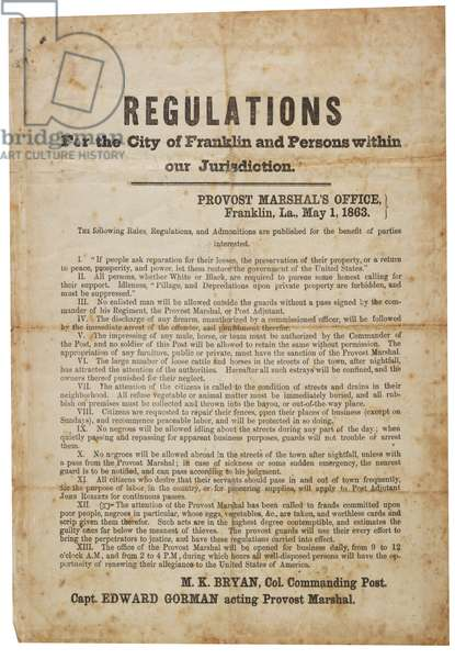 Regulations for the city of Franklin, 1 May 1863 (litho)