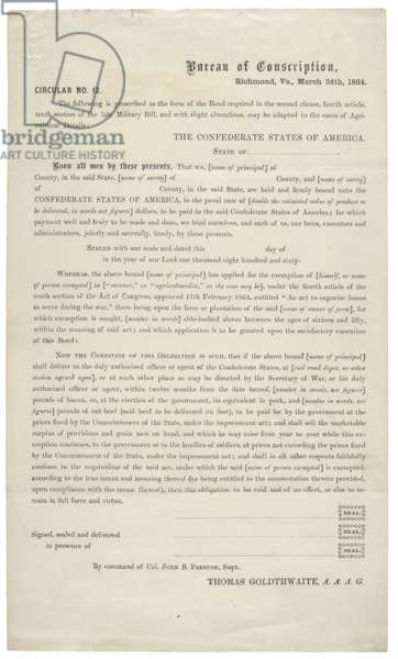 Circular no. 12, a blank application for exemption from service in the Confederate Army,24 March 1864 (litho)