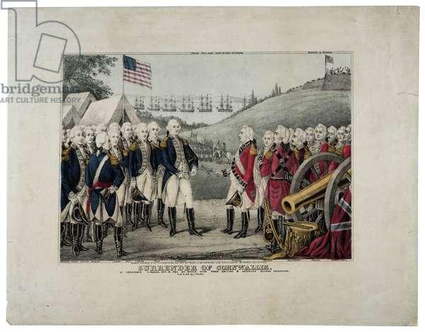 Surrender of Cornwallis, 1845 (colour litho)